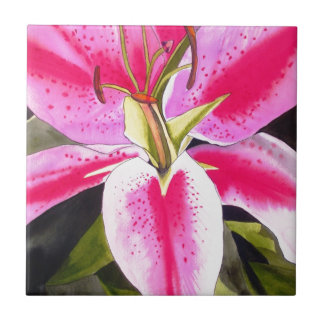 Hot pink lily Tenerife pop art watercolor flower Tile