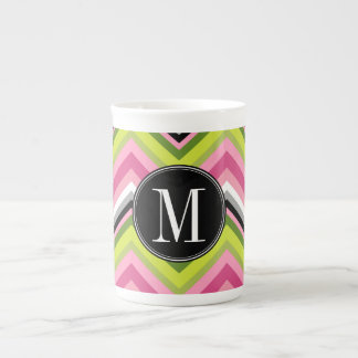 Hot Pink, Lime and Black Chevron Pattern Monogram Tea Cup