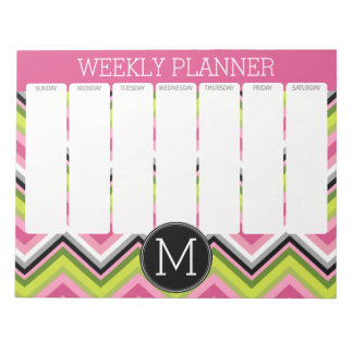 Hot Pink, Lime and Black Chevron Weekly Planner Notepad