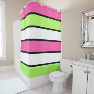 Hot Pink, Lime Green, Black and White Stripes