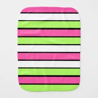 Hot Pink, Lime Green, Black and White Stripes Burp Cloth