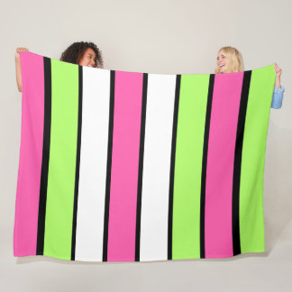 Hot Pink, Lime Green, Black and White Stripes Fleece Blanket