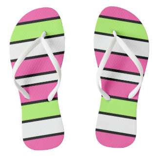 Hot Pink, Lime Green, Black and White Stripes Flip Flops