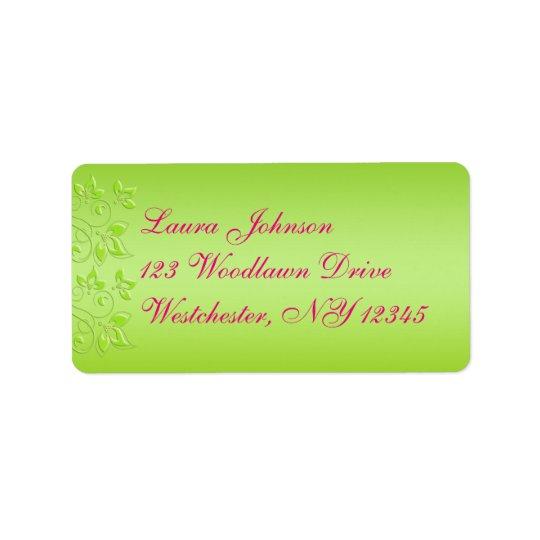 Hot Pink, Lime Green Floral Address Label