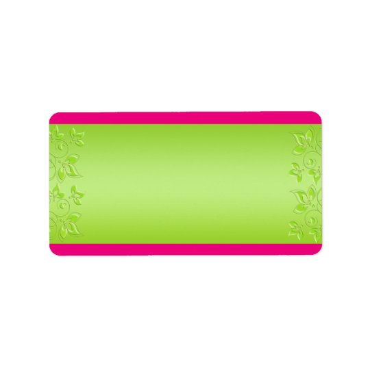Hot Pink, Lime Green Floral BLANK Address Label
