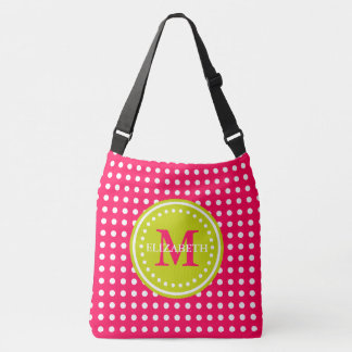 Hot Pink Lime Green Polka Dot Monogram Diaper Bag