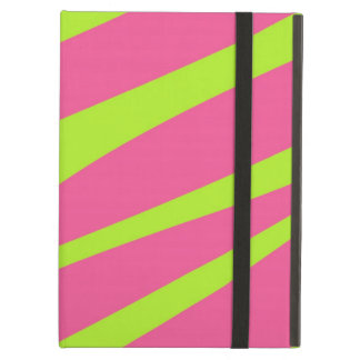 HOT PINK LIME GREEN ZEBRA STRIPES PATTERN CASE FOR iPad AIR