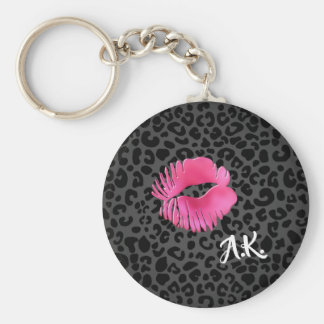 Hot Pink Lipgloss Kiss Black Leopard With Monogram Keychain