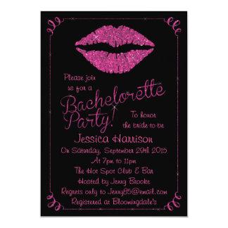 "Hot Pink Lips Glitter Effect Bachelorette Party 5"" X 7"" Invitation Card"