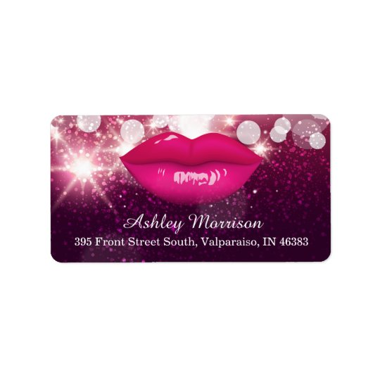 Hot Pink Lips Glitter Sparkles Beauty Salon Label