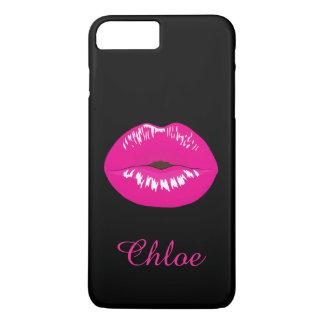 Hot Pink Lips Kiss Name Monogram Black iPhone Case