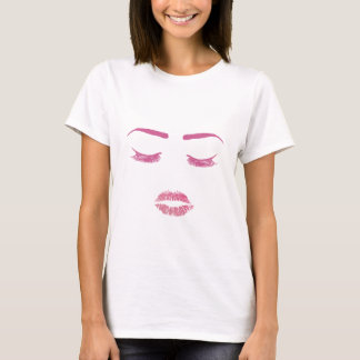 Hot Pink Lips Lashes & Brows Beauty Girl T-Shirt
