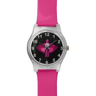 Hot Pink Lips Lipstick Glitter Glamour Black Watch