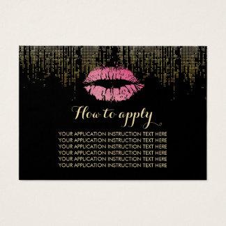 Hot Pink Lips Makeup Application Instructions Business Card