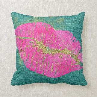 Hot Pink Lips on Teal Linen Throw Pillow