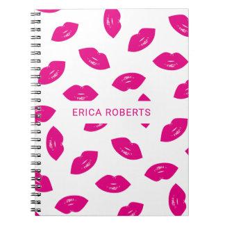Hot Pink Lipstick Lips Pattern LipSense Notebook