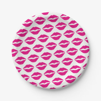 Hot Pink Lipstick Pattern Paper Plate