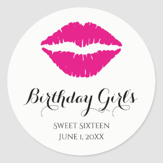 Hot Pink Lipstick Sweet Sixteen Birthday Party Classic Round Sticker