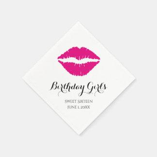 Hot Pink Lipstick Sweet Sixteen Birthday Party Disposable Napkin