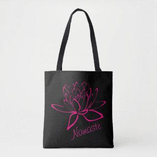 Hot Pink Lotus Neon Namaste Yoga Customize Tote