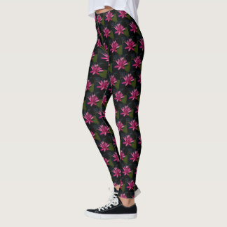 Hot Pink Lotus Waterlily Leggings