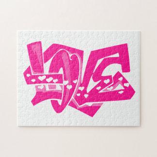 Hot Pink Love Graffiti Puzzles