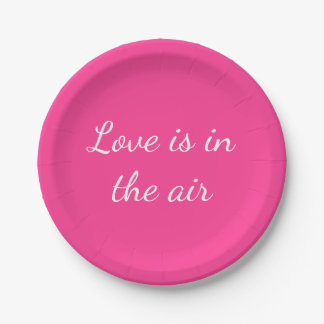 Hot Pink Love Wedding Bridal Shower Party Paper Plate