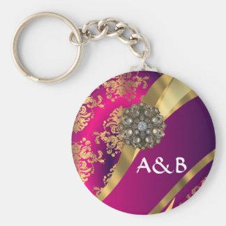 Hot pink Magenta & gold damask Basic Round Button Keychain