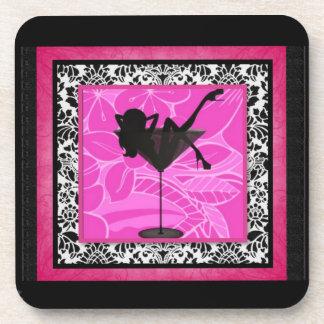 Hot pink martini girl coaster