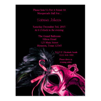 Hot Pink Masquerade Ball Sweet Sixteen Birthday Postcard