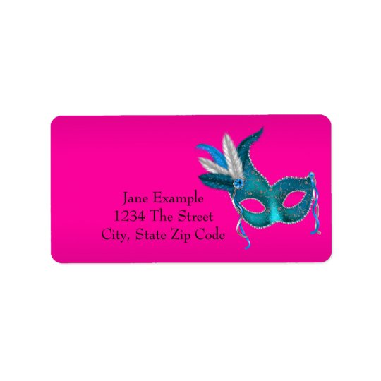Hot Pink Masquerade Party Address Labels