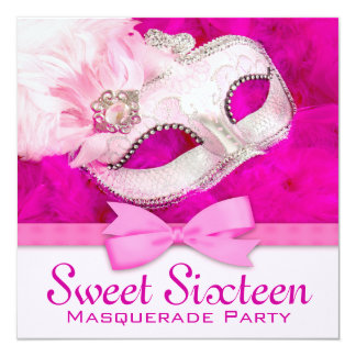 Hot Pink Masquerade Party Invitations