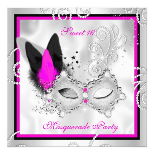 Hot Pink Masquerade Sweet 16 Party Mask Silver 3 Personalized Invite