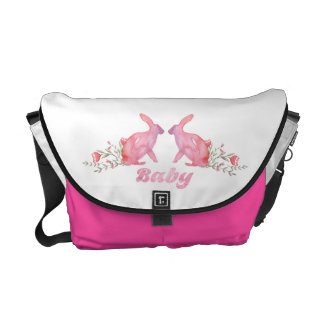 Hot Pink Medium Bunny Baby Napp Bag Courier Bags
