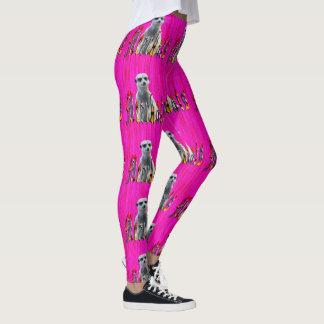 Hot Pink Meerkat And Meerkats Logo, Leggings