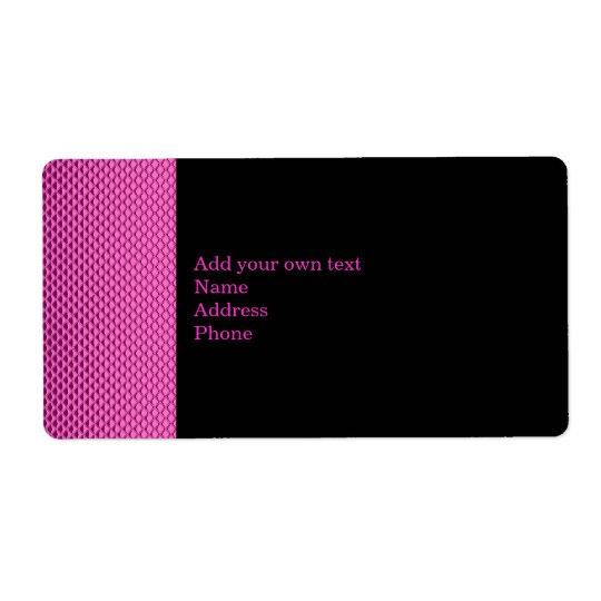 Hot Pink Metal Glitter Black Label Gift Sticker Shipping Label