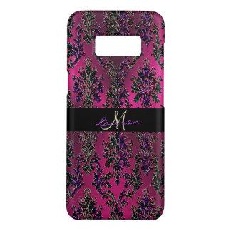 Hot Pink Metallic Vintage Modern Damask Monogram Case-Mate Samsung Galaxy S8 Case