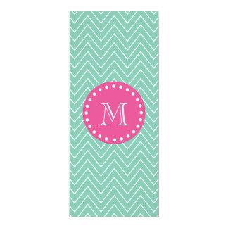 "Hot Pink, Mint Green Chevron   Your Monogram 4"" X 9.25"" Invitation Card"
