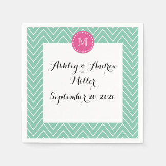 Hot Pink, Mint Green Chevron | Your Monogram Paper Napkins