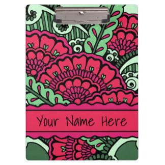 Hot Pink Mint Green Zen Mandala Art Classroom Name Clipboard