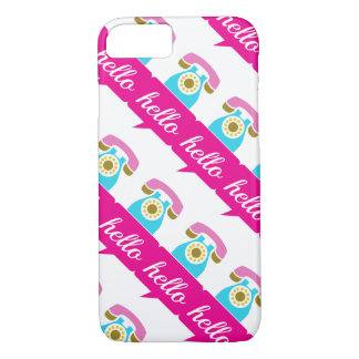 Hot Pink Mint Retro Telephone Hello iPhone 7 Case