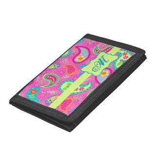 Hot Pink Modern Paisley Monogram Initial Tri-fold Wallet