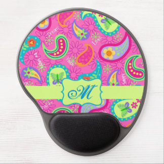 Hot Pink  Modern Paisley Pattern Monogram Table Gel Mouse Pad