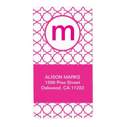 Hot Pink Modern Quatrefoil Monogram ANY WORDING