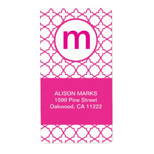 Hot Pink Modern Quatrefoil Monogram ANY WORDING Shipping Label