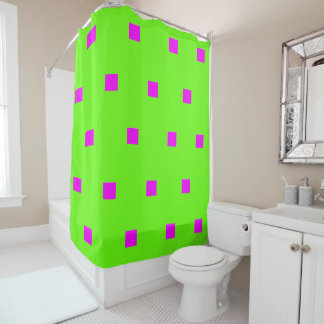 Hot pink modern squares shower curtain