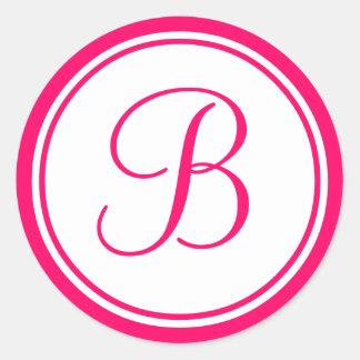 Hot Pink, Monogram B Wedding Label