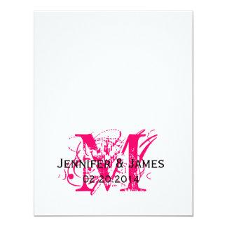"Hot Pink Monogram Names Wedding RSVP Cards 4.25"" X 5.5"" Invitation Card"