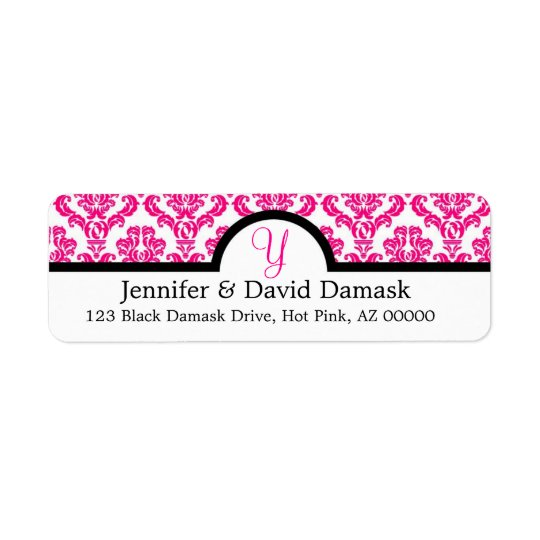 Hot Pink Monogram Y Damask Wedding