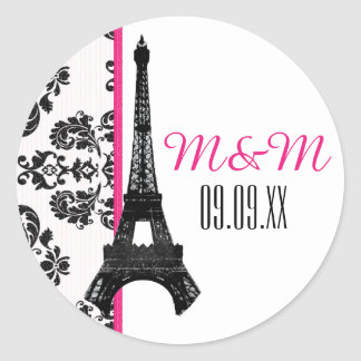 Hot Pink Monogrammed Damask Eiffel Tower Wedding Round Sticker